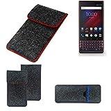 K-S-Trade® Filz Schutz Hülle Für -BlackBerry Key 2 LE Dual-SIM- Schutzhülle Filztasche Pouch Tasche Case Sleeve Handyhülle Filzhülle Dunkelgrau Roter Rand