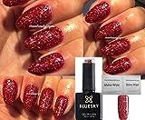 Bluesky BLZ12Weihnachtlicher, roter Glitzer-Gel-Nagellack, für Weihnachten, UV/LED Soak-Off-Gel 10ml inkl. 2Homebeautyforyou Glanztücher