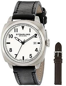 Stuhrling Original 770.SET.01 - Reloj de cuarzo para hombre, con correa de cuero, color negro de Stuhrling Original