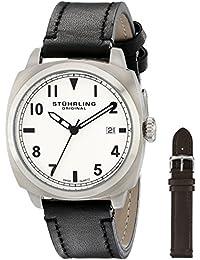 Stuhrling Original  770.SET.01 - Reloj de cuarzo para hombre, con correa de cuero, color negro