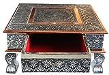 Mesa de café Bajot india para Puja Chowkie con cajón de almacenamiento; mesa de boda de 38x38 cm