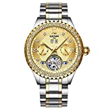 Armbanduhren,Kinyued Automatic Mechanical Watches Gold Schwarz Tourbillon Uhr Auto Date, Silber Gold