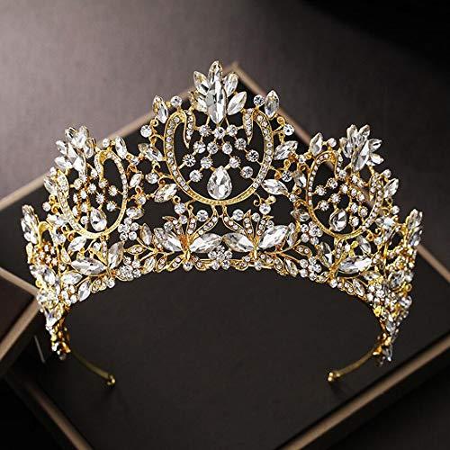 GongDi Diademe Kopfschmuck Braut koreanische Krone Haarschmuck Retro Hochzeit Kristall Schmuck hairwear 14 * 8