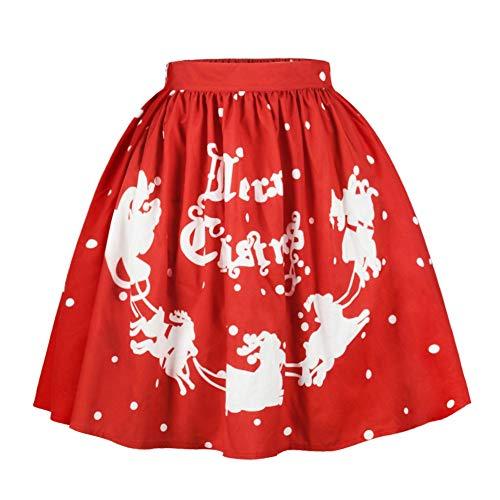 Herbst Winter Frauen beiläufige Weihnachten Santa Flare elastische hohe Taille Cosplay Ballkleid...