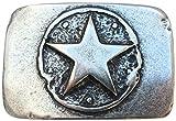 Gürtelschließe One Star 4,0 cm Gürtelschnalle Buckle Sterne Star Western Cowboy Stern Country Texas Pferd Reiten Amerika USA, 5,2 x 7,9 cm, Altsilber
