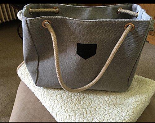 Damen Handtaschen Organizer Segeltuch Schultertasche, 33,5*12*26cm Hellgrau