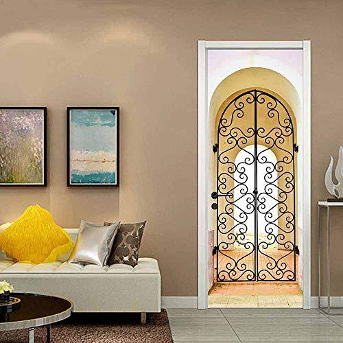 NHFGJ Door Sticker Wallpaper Mural 3D Flange Iron Self-Adhesive PVC 77X200Cm for Bedroom Living Room Interior Door Decoration