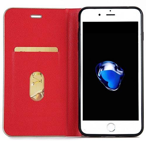 Wkae Cowhide Texture PC Stoßfänger Starke magnetische Adsorption Horizontale Flip Leder Tasche mit Card Slots & Halter für iPhone 7 Plus ( Color : Brown ) Red