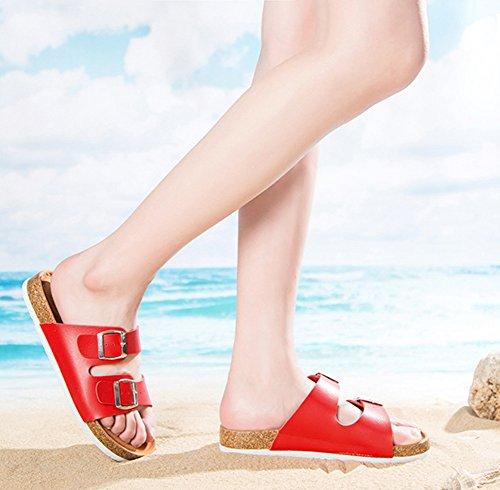 Damen / Herren Sandalen Zehentrenner Erwachsene Softfootbed Pantoletten Kork Sandalen Flache Hausschuhe Rote