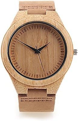 Yowao Madera de bambú Reloj Hombre con Correa de Cuero Genuino Movimiento de Cuarzo Japonés - Marrón