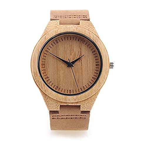 Bamboo Wooden Watch for Men with Genuine Leather Strap Japanese