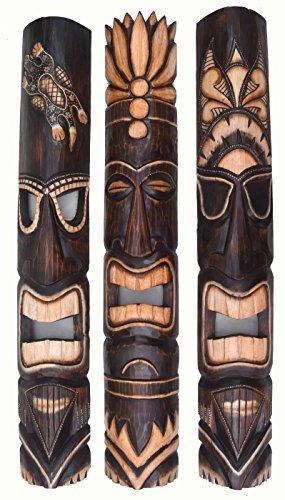 3-piezas-mscara-Pared-Mscara-de-pared-en-el-Tiki-HAWAI-estilo-de-madera-in-100cm-largo-con-tortugas-y-dibujo-de-sol