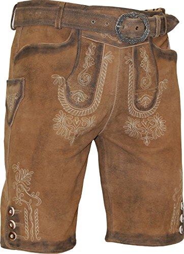 Klassische kurze Lederhose Detlef geraucht und gespeckt incl. Gürtel, Größe:54;Farben:desert