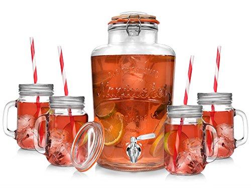 Sänger Vintage Getränkespender Set 9 Liter mit Eiseinsatz, Henkelgläsern 0,4 Liter 12 teilig | Premium Dispenser mit Edelstahl Zapfhahn und 2 Deckeln | Trinkgläser inklusive Strohhalm