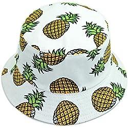 Leisial Sombrero de Pescador Algod/ón Patr/ón de Pi/ña Gorro de Alas Anchas Protector Solar Primavera Verano para Ni/ños Beb/é,Rosa