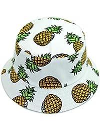 Qinlee Fischerhüte Ananas muster Sonnenhut Strandhut Studenten Lässig Hüte Visier Kappe Schutz Kopf Frühling-Sommer Hüte Dame Mädchen für Outdoor (Weiss)
