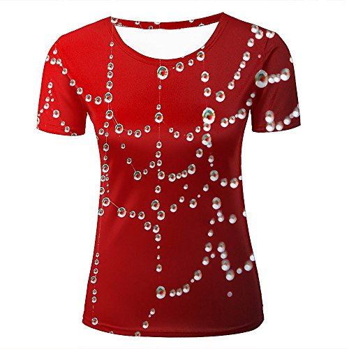 3D Print Short Sleeves T Shirts Red Background and Crystal Clear Dew Graphics Men Women Couple Fashion Tees XS Jasper Conran Crystal