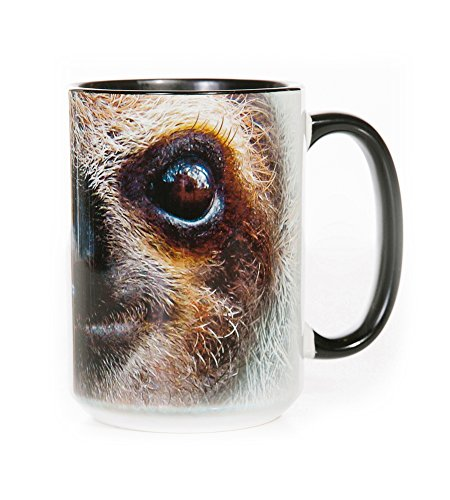 The Mountain 57359609001 Sloth Face Coffee Mug, 15 oz, Black (Western Pack Tote)