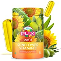Olena Plix Vitamin E Capsules made from Sunflower, Olive and Aloe Vera Oil for Youthful and Glowing Skin, 30 capsules…