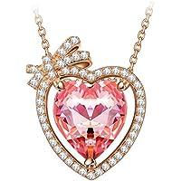 """NINASUN """"Innamorato"""" 925 Argento Sterlina Pink Realizzato con Cristalli SWAROVSKI® Placcato Oro Rosa Donna Collana Pendente"""