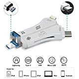USB C Card Reader, Baker 4 in 1 Multifunction SD / TF Card Reader with Lightning 8-Pin / USB / Micro-USB / Type-C Connector Compatible iPhone iPad Android Mackbook Pro