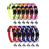 HOMIMP 12 PCS Cat Collar Set Breakaway with Bell Reflective Strap & Safety Buckle, Adjustable 20-30 cm