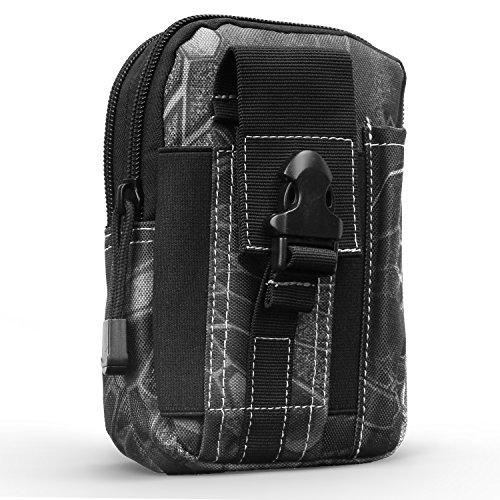 MoKo Taktische Hüfttaschen Molle Tasche, Mehrzweck Universal Outdoor Reißverschluss MOLLE EDC Pouch Handy Armee Camo für 6,2 Zoll Telefon, iPhone X/8 Plus/8/7 Plus/6s, Samsung Galaxy S8 Plus/S8 - Python Schwarz (Tasche Universal-schlüsselanhänger)