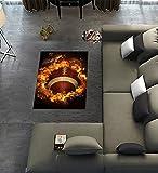 headgooditem Custom Flaming American Football Area Rugs Modern Carpet for Home Dining Room Playroom Living Room Decoration Size 2'7