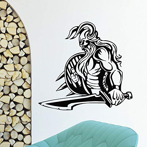 Baobaoshop Wall Tattoo Vinyl Pegatina Antigua GUERRERA VIKINGA DECORACIÓN NÓRDICA 57 * 61cm