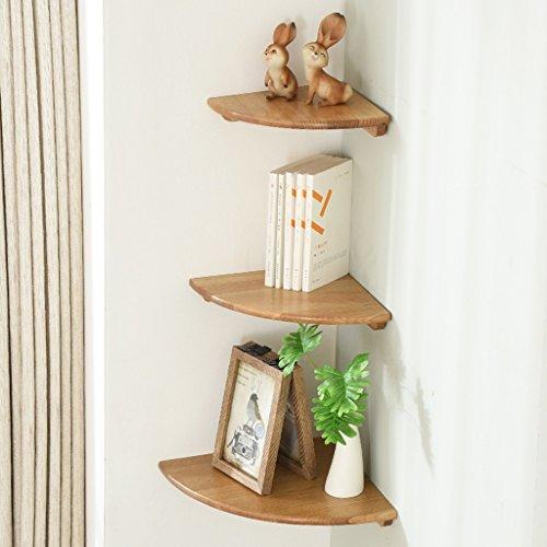 Sjysxm-floating shelf set di 3 mensole angolari in legno mensole in rovere da muro home storage mensole mobili da parete con mensole a muro con 3 diverse dimensioni (colore : natural color)