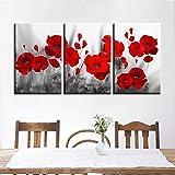 MXmama Wandkunst Leinwand Wohnkultur Drucke Romantische Mohn Poster 3 Stücke Rote Blumen Bilder Für Wohnzimmer 50X70 Cmx3 Ungerahmt