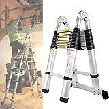 Bowose 5m Scala telescopica Estensione a-Frame Alluminio Portatile telescopica 16gradini scaletta per casa Ufficio Loft EN131Certified carico 150kg