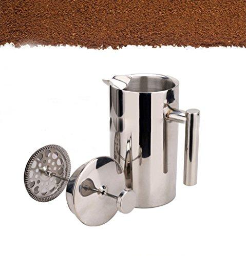 Doppelwandig Tee & Kaffee Brewer | Edelstahl Kaffeekanne & Maker–French Press 350ml oder 800ml oder 1000ml Kaffeekanne 350 ml silber