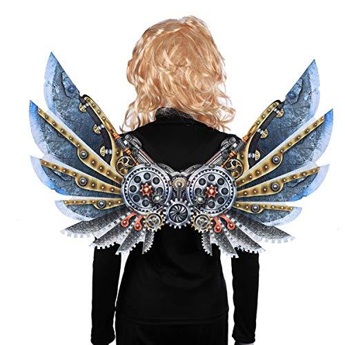 Punk Themen Kostüm - HUNTFORGOOD 3D Druck Mechanische Punk Flügel Halloween Karneval Thema Party Kostüm Cosplay Flügel für Kinder Erwachsene