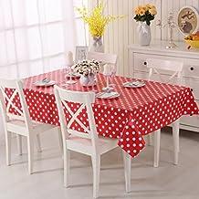 Vinylla - Mantel para mesa (PVC, fácil limpieza), diseño de lunares, color rojo - 140x140cm