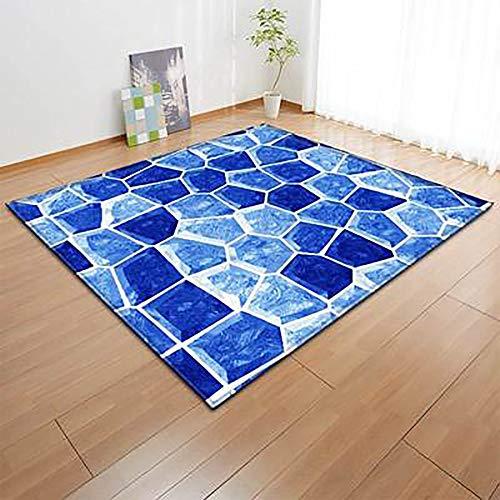 LXESWM Wohnzimmer Schlafzimmer Bereich Teppich Geometrisches Muster 3D Moderner dekorativer Teppich, weicher und Rutschfester Blauer Teppich (Farbe : Blau, Size : 80 * 50) -