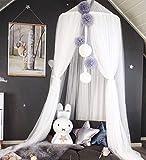 Zinsale Kinder Bett Baldachin Mesh Moskitonetz Hängenden Vorhang Prinzessin Krone Babyhimmel Indoor Outdoor Lesen Spielen Zelt, Höhe 240 cm (Weiß)