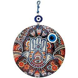 Wanddeko Wandschmuck Deko 'Fatimas Hand' Hamsa aus Glas - mit Blauem Auge Nazar Boncuk Talisman