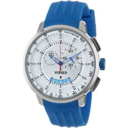 Versus Herren-Armbanduhr 44mm Armband Kautschuk Blau Gehäuse Edelstahl Quarz Zifferblatt Silber SGV030013