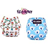 Fig O Honey Reusable New Born Baby Cloth Diapers | Multi-Color Baby Cloth Nappy With Free Absorbent Inserts | Washable Elastic Cloth Diapers | Reusable Elastic Printed Cloth Diapers | ( All Smiles & Elephant Print Combo )