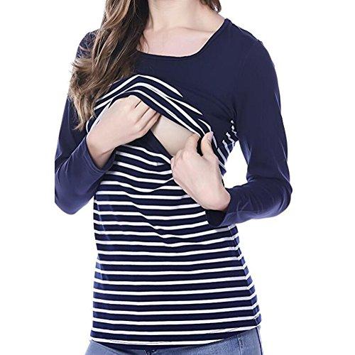 Damen Sweatshirt Maternity Stillshirt Langarmshirt Stilltop / Umstandstop Nursing Top Schwangerschaft Mama T-shirt Umstandsshirt Stillzeit Top Wickeln-Schicht Jersey Tops Schwarz L Meedot (Mama T-shirt Maternity)