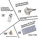 VBLED® LED Aluminium Mini Einbaustrahler IP44 wassergeschützt - 1W 350mA 80lm warmweiß (3000 K) (7-er Set mit RF Funk Netzteil)