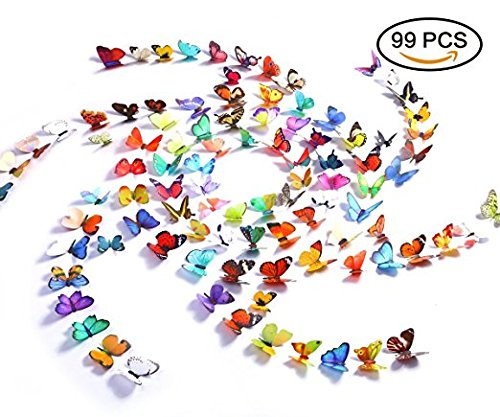 Jaamso Royals Butterfly Wall Decals - 99PCS 3D Butterflies Wall Stickers Removable Mural Decor Wall Stickers Decals Wall Decor Home Decor Kids Room Bedroom Decor Living Room Decor