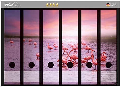 Wallario Ordnerrücken Sticker Rosa Flamingos bei Sonnenuntergang in Premiumqualität - Größe 36 x 30 cm, passend für 6 breite Ordnerrücken -