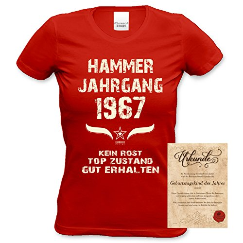 Damen Jahreszahl Motiv T-Shirt :-: Geburtstagsgeschenk Geschenkidee für Frauen zum 50. Geburtstag :-: Hammer Jahrgang 1967 :-: Girlie kurzarm Shirt mit Geburtstags-Aufdruck :-: Farbe: rot Rot