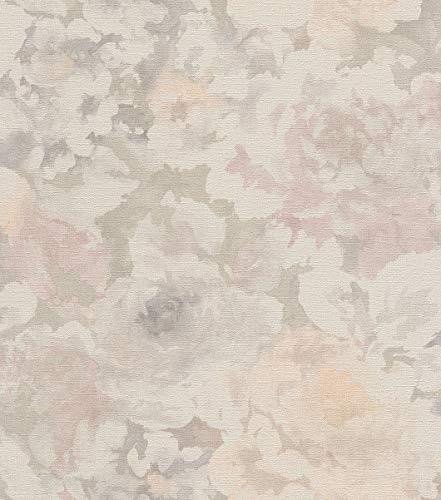 rasch Tapete 455656 aus der Kollektion Florentine II - Vliestapete mit dezenten Aquarell-Pfingstrosen - 10,05m x 53cm (L x B) - Thomas Aquarell