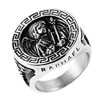 HZMAN The Archangel Saint St Raphael Stainless Steel Amulet Ring Silver