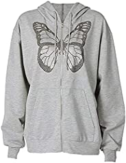 Women Oversized Zip Up Hoodie Jacket Y2K Graphic Sweatshirt Letters Rhinestones Vintage E-girl 90s Hoodies Str