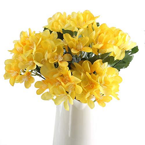 Vera-lavendel-kollektion (GTIDEA Künstliche Cymbidium-Fake Seidenblumen Strauß für drinnen und draußen, Tischdekoration, 4 Stück Art Deco gelb)