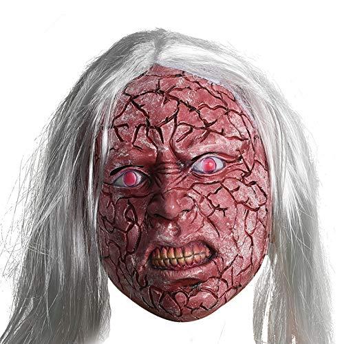 Teufel Kostüm Rot Haar - Rotes Gesicht Weißes Haar Teufel Latex Maske/Horror Halloween Kostüm/Erwachsenen Make-Up/Spukhaus Requisiten/Rollenspiele/Männer Und Frauen Kopfbedeckungen